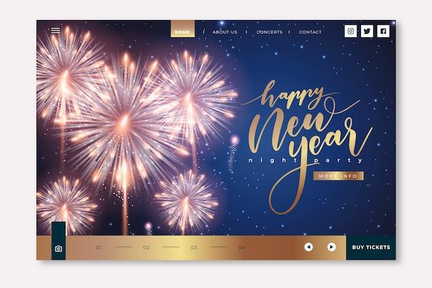 Página de inicio realista de año nuevo