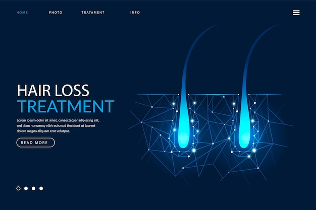 Página de inicio realista del tratamiento de la caída del cabello