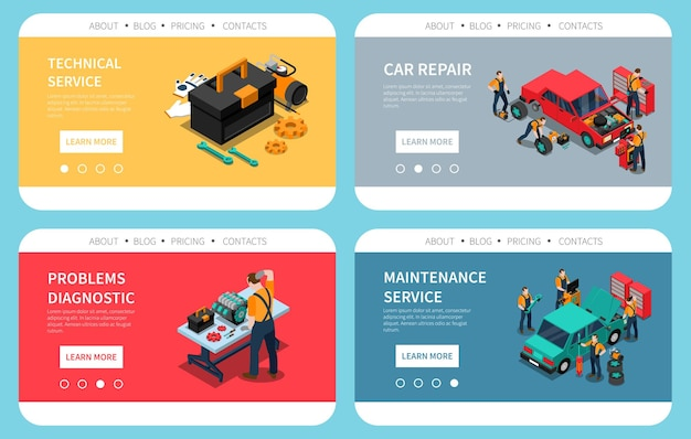 Página de inicio con reparación de automóviles, problemas de mantenimiento, diagnóstico, reemplazo de piezas, servicio técnico