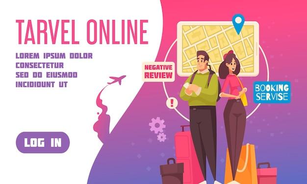 Página de inicio de reserva de viajes plana con título de enlaces y botón de inicio de sesión