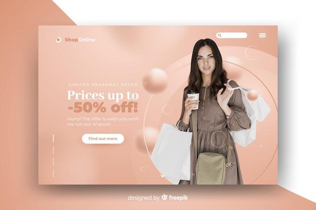 Página de inicio de resumen de ventas con imagen
