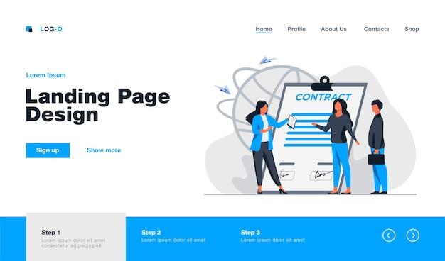 Página de inicio de reunión de socios comerciales en estilo plano