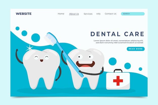 Página de inicio de salud dental plana