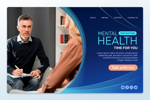 Página de inicio de salud mental degradada con foto
