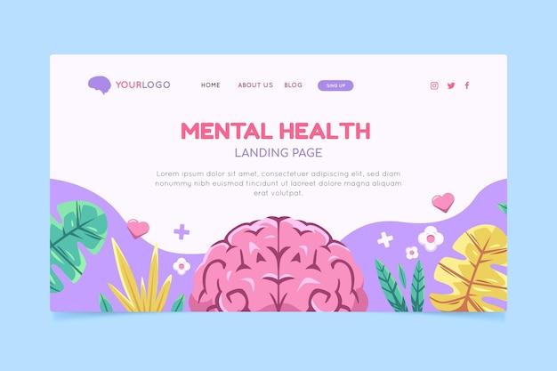 Página de inicio de salud mental dibujada a mano
