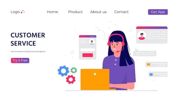 Página de inicio del servicio de atención al cliente. concepto con mujer con auriculares y micrófono con laptop. tema empresarial y comunicación digital para asistencia, call center. vector de moda Vector Premium