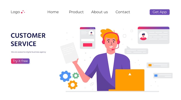 Página de inicio del servicio de atención al cliente. concepto con mujer con auriculares y micrófono con laptop. tema empresarial y comunicación digital para asistencia, call center. vector de moda