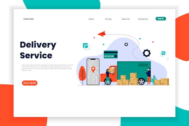 Página de inicio del servicio de entrega en línea con caja de automóvil