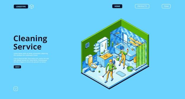 Página de inicio del servicio de limpieza con personas isométricas con spray y esponja en el baño de la casa