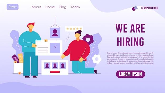 Página de inicio del servicio en línea de la agencia de contratación