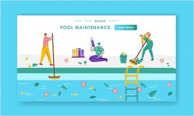 Página de inicio - servicio de mantenimiento o limpieza de piscinas, grupo de personas en miniatura en una piscina limpia y uniforme