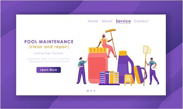 Página de inicio - servicio de mantenimiento o limpieza de piscinas, grupo de personas en miniatura uniformadas, productos de limpieza para piscinas
