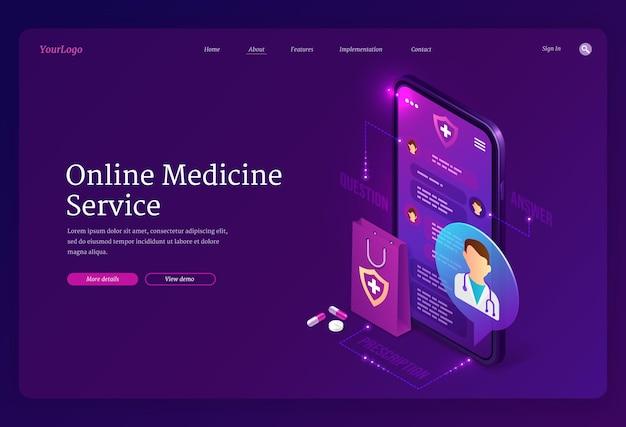 Página de inicio del servicio de medicina en línea