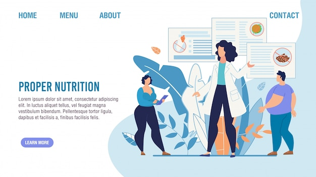Página de inicio del servicio de selección de nutrición adecuada