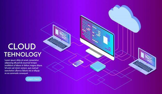 Página de inicio de servicios de computación en la nube isométrica