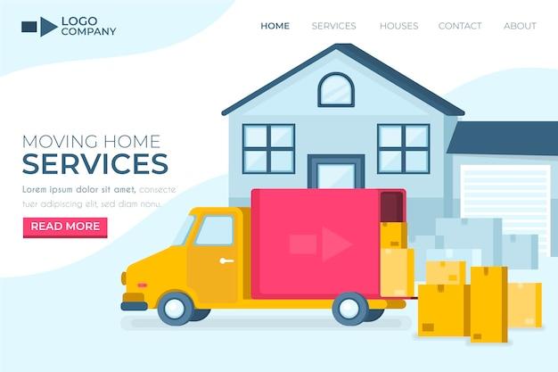 Página de inicio de servicios de mudanza de casa con camión