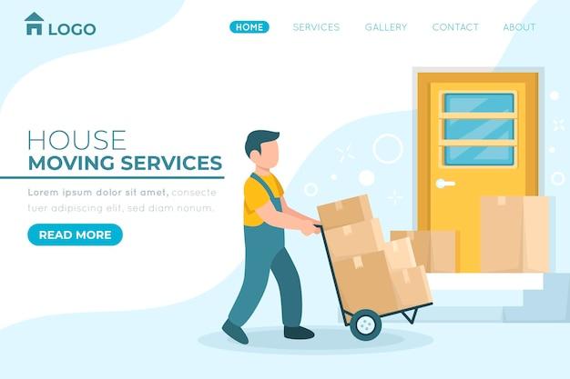Página de inicio de servicios de mudanza de casa con cuadros