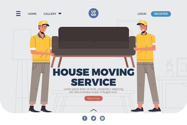 Página de inicio de servicios de mudanza de casa con sofá
