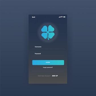 Página de inicio de sesión de aplicaciones de panel de pantalla móvil gratis