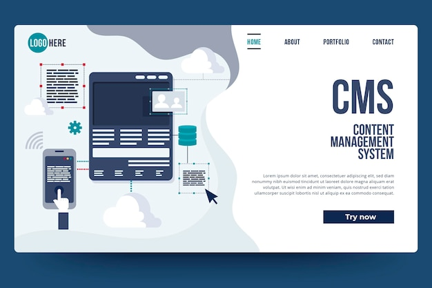 Página de inicio del sistema de gestión de contenido de diseño plano