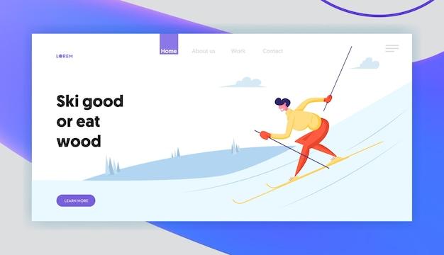 Página de inicio del sitio web de actividades deportivas de esquí en invierno