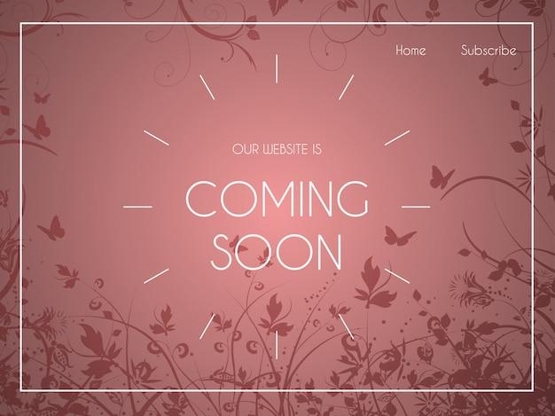 Página de inicio del sitio web con adornos florales.