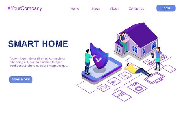 Página de inicio del sitio web, cartel de promoción, folleto o concepto de folleto para tecnologías digitales domésticas inteligentes, ilustración vectorial isométrica