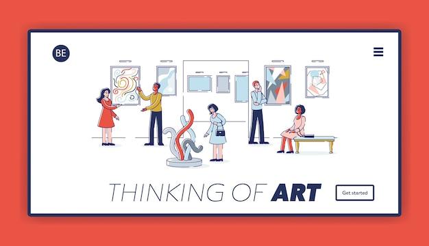 Página de inicio del sitio web del concepto de arte moderno