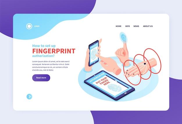 Página de inicio del sitio web del concepto de identificación biométrica isométrica con enlaces en los que se puede hacer clic e imágenes de manos humanas