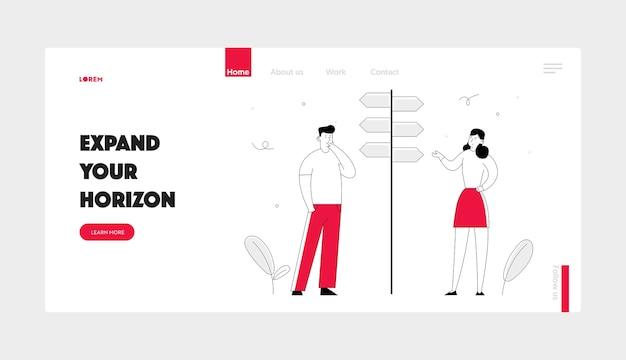 Página de inicio del sitio web del concepto de manera de desafío empresarial y elección de tareas.
