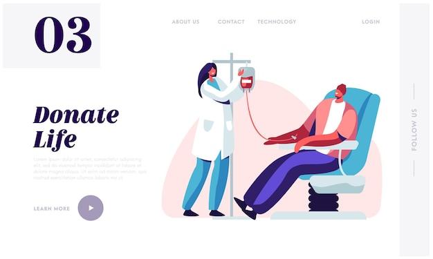 Página de inicio del sitio web de donación de sangre,