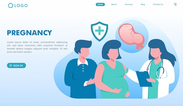 Página de inicio del sitio web de embarazo