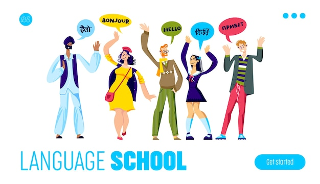 Página de inicio del sitio web de la escuela de idiomas para cursos en línea de aprendizaje de idiomas con personajes de dibujos animados
