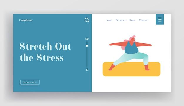 Página de inicio del sitio web de estilo de vida deportivo saludable de mujer con sobrepeso.