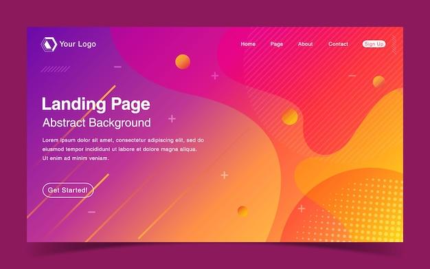 Página de inicio del sitio web con fondo abstracto