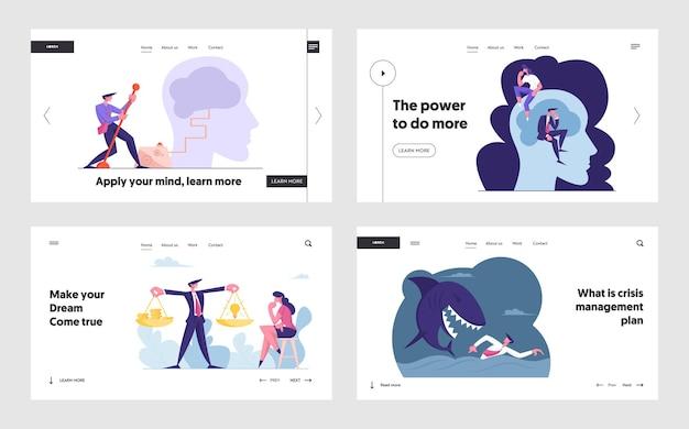 Página de inicio del sitio web de gestión de riesgos de actividad de lluvia de ideas innovadoras