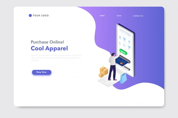 Página de inicio del sitio web de ilustración isométrica de comercio electrónico o compras en línea