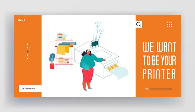 Página de inicio del sitio web de la imprenta o agencia de publicidad.
