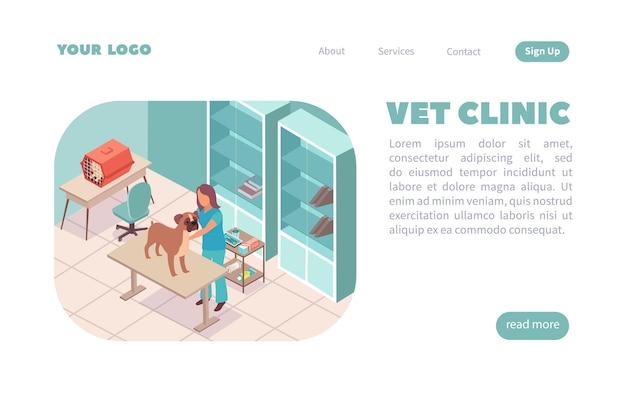 Página de inicio de sitio web isométrico de la clínica veterinaria con texto editable de composición interior y enlaces en los que se puede hacer clic