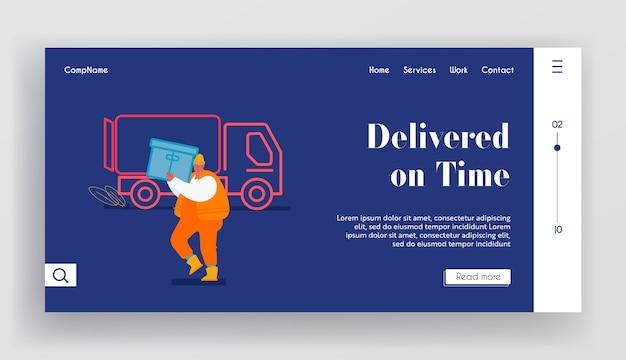 Página de inicio del sitio web de logística marítima. envío de contenedores de carga del hombre del puerto al camión de carga. ilustración