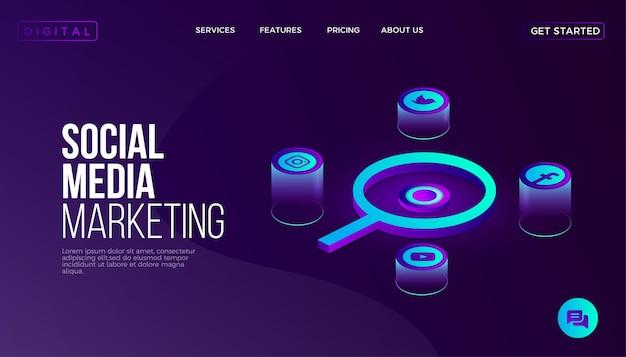 Página de inicio del sitio web de marketing en redes sociales isométrica