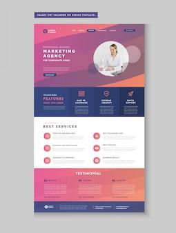 Página de inicio del sitio web de negocios | página de destino de la aplicación | diseño de interfaz de usuario web | plantilla web wire-frame