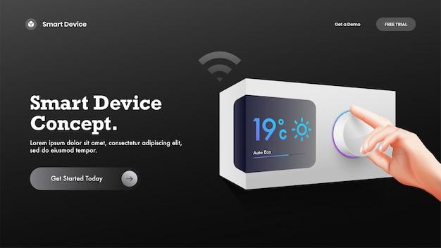 Página de inicio del sitio web o foto del héroe con control de temperatura inteligente