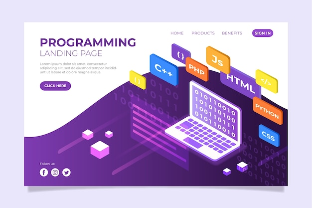 Página de inicio del sitio web de programación