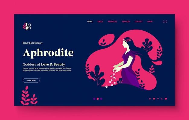 Página de inicio del sitio web para spa, salón de belleza, naturaleza, hermosa niña. niña dejando caer algunas flores, en la naturaleza, la diosa griega afrodita. ilustración de diseño plano moderno para el sitio web.