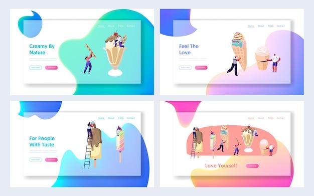 Página de inicio del sitio web de summer cafe, pequeños personajes decoran un gran helado con cobertura, frutas y chocolate. alimentos dulces, clima cálido, postre dulce, página web.