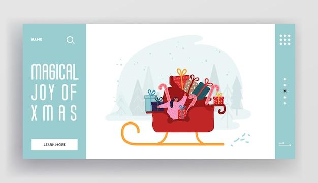 Página de inicio del sitio web de vacaciones de invierno. saludos feliz navidad feliz año nuevo. trineo de montar a caballo de niña ayudante de santa claus con enorme bolsa llena de cajas de regalo banner de página web. plano de dibujos animados