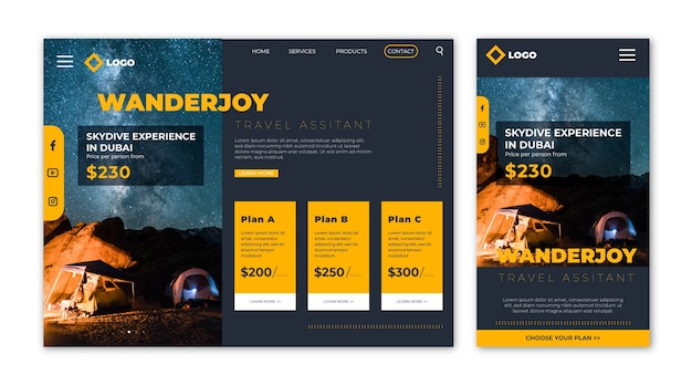 Página de inicio del sitio web de viajes con información