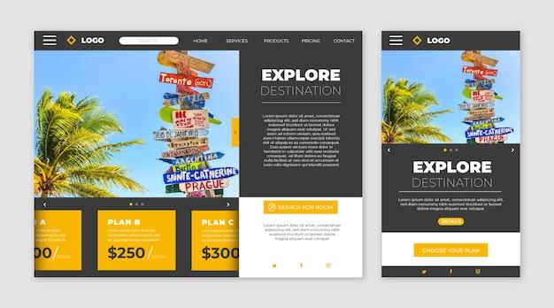 Página de inicio del sitio web de viajes