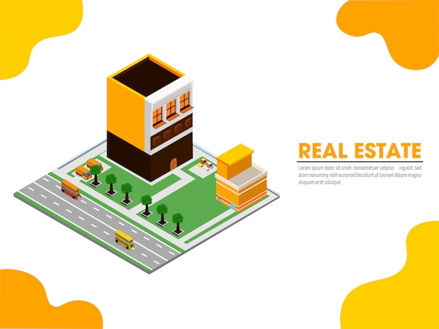 Página de inicio del sitio web con vista isométrica de bienes raíces.